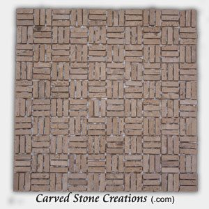 Romano Tumbled Travertine Basket-weave Mosaic