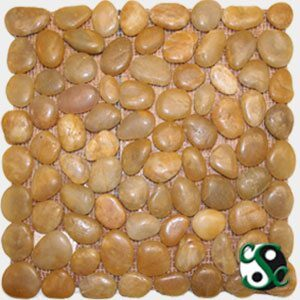 Golden Polished Natural Round Pebbles