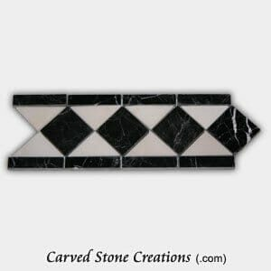 Black-White Marble Polished Diamond Border