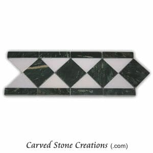 Green-White Marble Polished Diamond Border