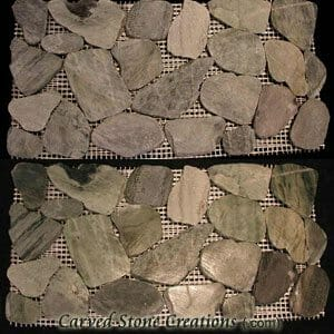 Green Cut/Tumbled Pebble Mosaic Border