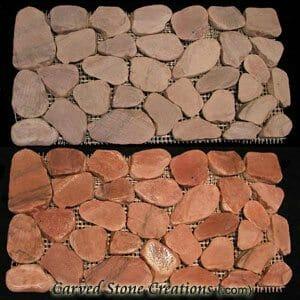 Rose Cut/Tumbled Pebble Mosaic Border