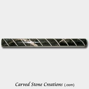 Trilob Brown Polished Marble Cut Rope Moulding