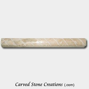 Light Oriental Travertine Polished Cut Rope Moulding