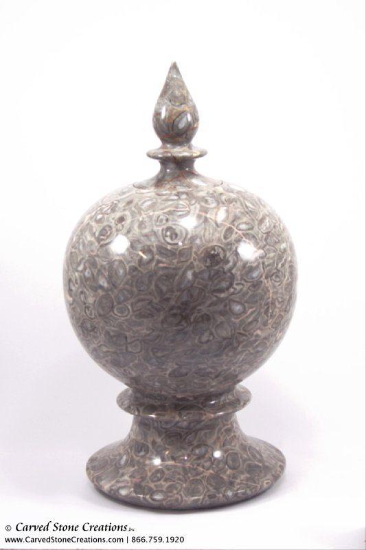 H16 x D9 Marble Urn w/ Lid