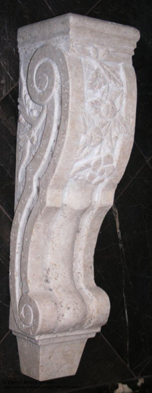 Large Floral Design Corbel, 5.5x6xH24, Tuscany Classic Travertine