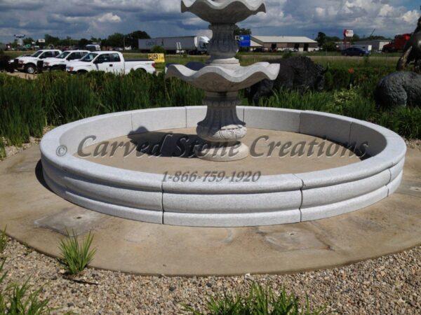 14' Round Tuscan Fountain Pool Surround, California White Granite