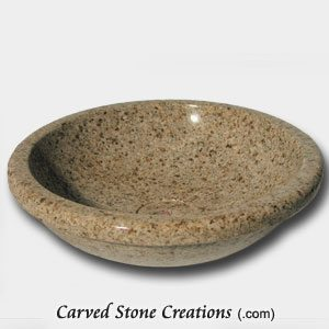 D18 Rimmed Vessel Sink, Giallo Fantasia Granite