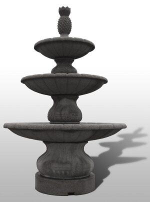 "Large Playa Vista 3-Tier Fountain, D84"" x H126"", Charcoal Grey Granite"