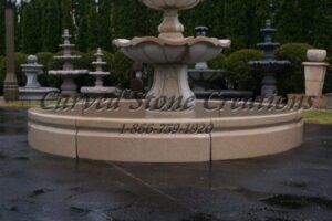12' OD Round Cypress Fountain Surround, Giallo Fantasia Y Granite