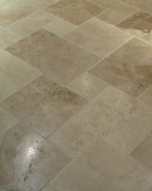 Tuscany Beige Standard Versailles Pattern Honed Unfilled Brushed Chipped Tile, 16SF/Set
