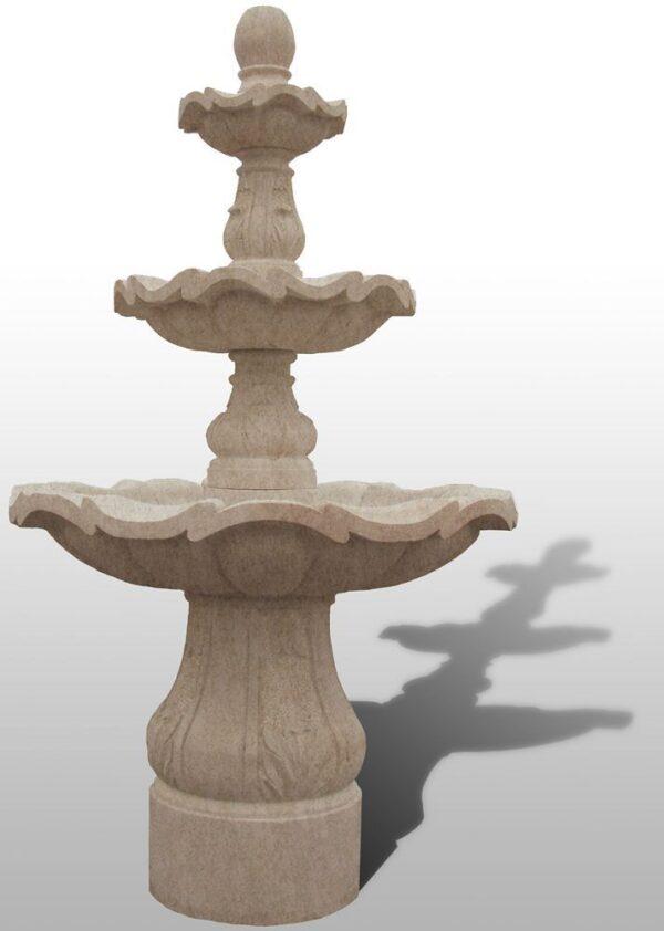 """3-Tiered Scalloped Fountain, D54"""" x H96"""", Giallo Fantasia Y Granite"""