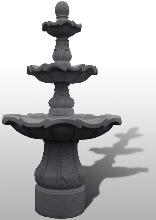 "3-Tiered Scalloped Fountain, D54"" x H96"", Charcoal Grey Granite"