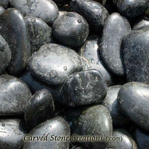 """3/4-2"""" Flat Polished Pebbles, Black 44LB"""