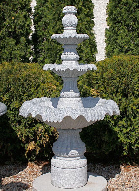 "Classical 3-Tier Pedestal Fountain, D39"" x H67"", Bianco Catalina Granite"