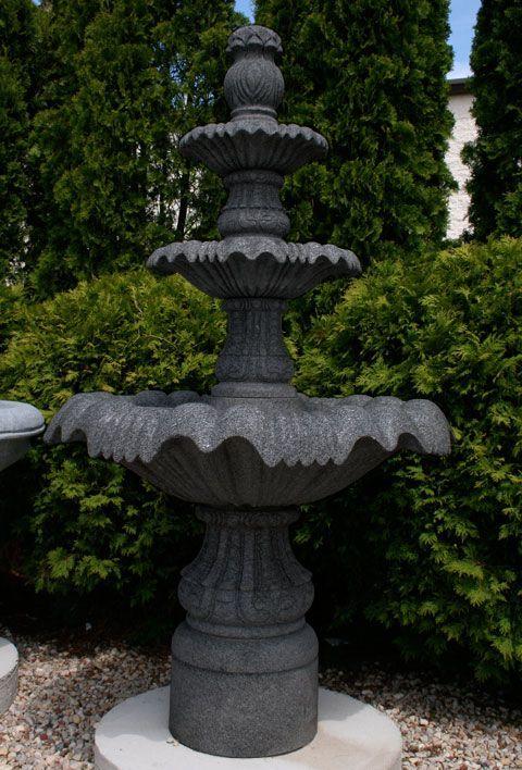 "Classical 3-Tier Pedestal Fountain, D39"" x H67"", Charcoal Grey Granite"