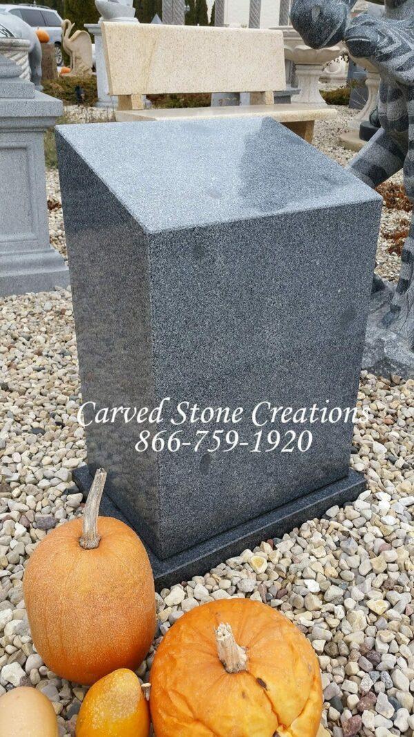 Tapered Granite Pedestal Polished Charcoal Grey