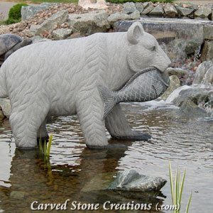 Bear with Fish Statue, Charcoal Grey