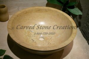 "Dia 17"" x H6"" Unrimmed Vessel Sink Polished Light Saffron Marble."