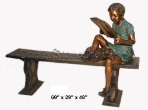 Boy Sitting On Bench Reading Book, 5.75-FT