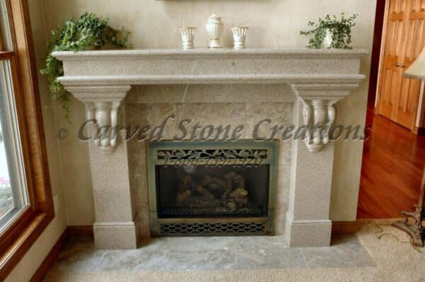 Traditional Fire Place with Corbels Giallo Fantasia Granite