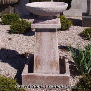 """Prairie Fountain, D24"""" x H48"""", Giallo Fantasia D Granite"""