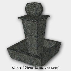 "Tolken Fountain, H50"" x D36"", Charcoal Grey Granite"