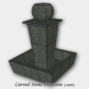 "Tolken Fountain, H50"" x D36"", Charcoal Grey Granite"
