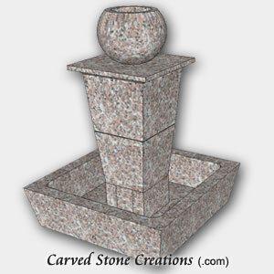 """Tolken Fountain, H50"""" x D36"""", Wild Rose Granite"""