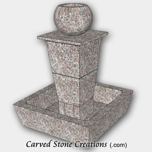 "Tolken Fountain, H50"" x D36"", Wild Rose Granite"