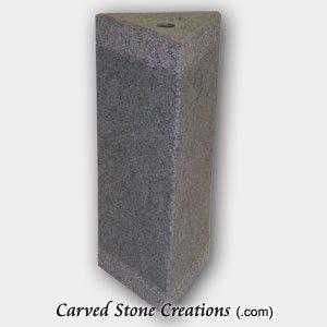 "Triangle Bubbling Fountain, H14"", Charcoal Grey Granite"