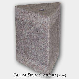 "Short Triangle Bubbling Fountain, H8"", Bainbrook Brown Granite"