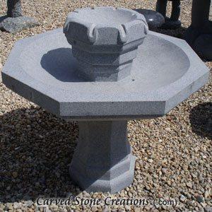 Octagon Birdbath Fountain Honed Charcoal Grey