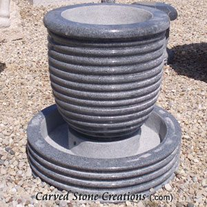 Corrugated Urn Fountain Polished Charcoal Grey
