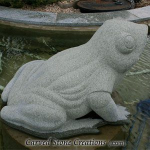 Large Spitting Frog, Mermaid Green Granite