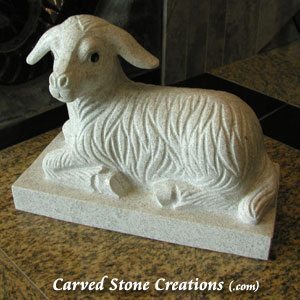 Laying Lamb Statue, Pearl White