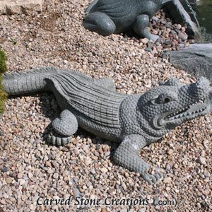 Carved Crocodile Statue, Natural Green