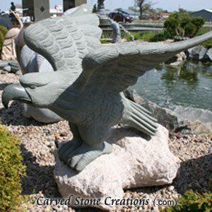 Eagle Statue On Boulder, Natural Green-Giallo Fantasia