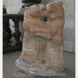 Fighting Tigers Statue, Honed Sunset Red Marble