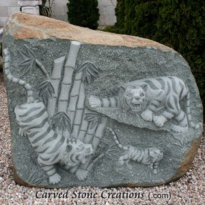 Boulder With Relief Carved Tigers