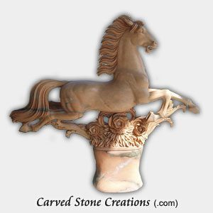 Leaping Horse Statue, Sunset Red Marble