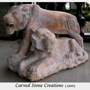 Tigers Walking/Laying Statue, Sunset Red Marble