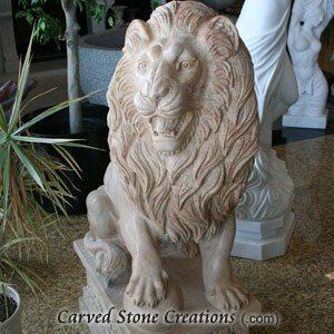 Pair of Regal Guardian Lion Statues, Beige Venato Marble