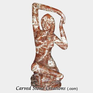 Statue In Yoga Pose, Polished Sangre Rose Marble