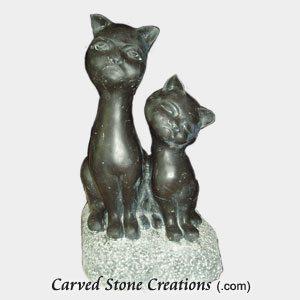 Short Sitting Cat Pair, Honed Black Limestone