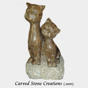 Short Sitting Cat Pair, Honed Coffee Brown Marble