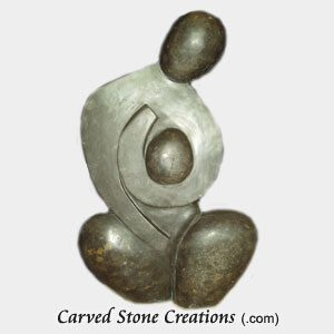 Abstract Mother with Child Statue, Black Limestone