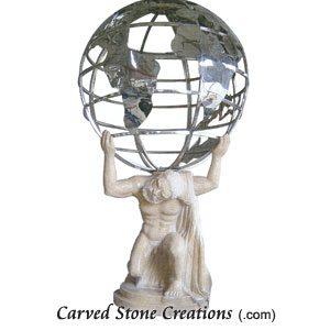 Large Stone Atlas With Stainless Globe, Giallo Fantasia