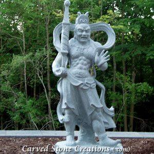 Temple Guard Statue - Left, Fine Temple Grey