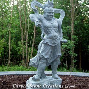 Temple Guard Statue - Right, Fine Temple Grey